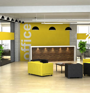 Modern office reception area with yellow accents
